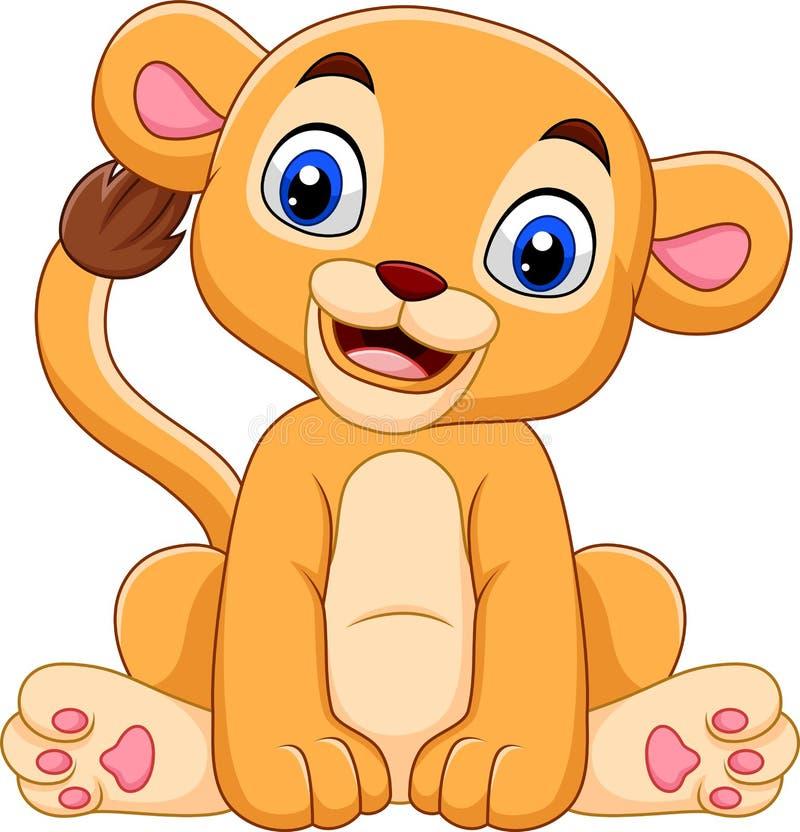 Tecknade filmen behandla som ett barn lejoninnan som isoleras på vit bakgrund royaltyfri illustrationer