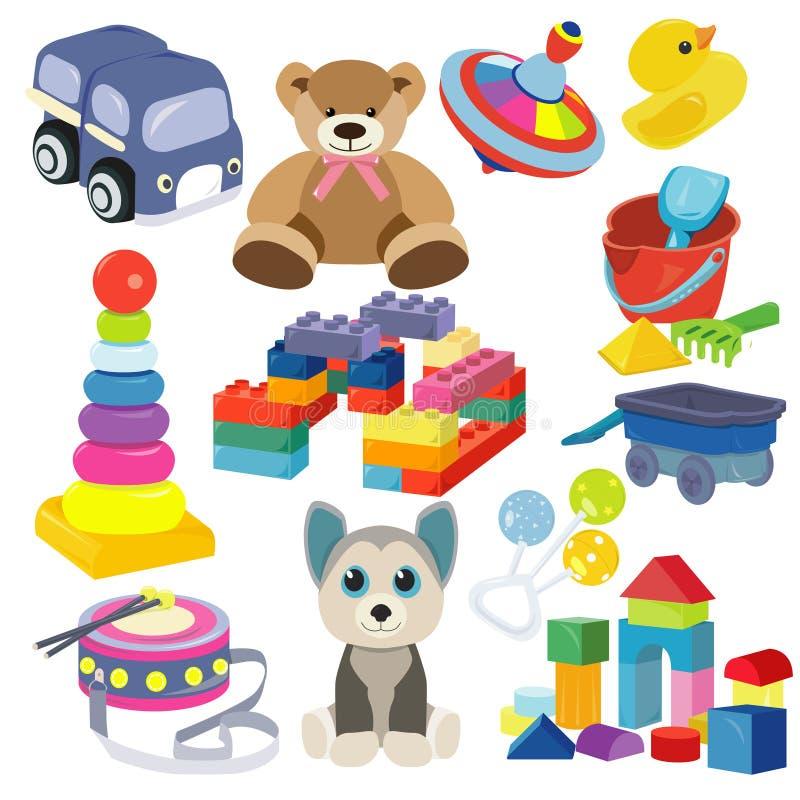 Tecknade filmen behandla som ett barn leksakuppsättningen Gulligt objekt för småbarn som spelar med, leksaker, välfyllda djur, gy arkivbild