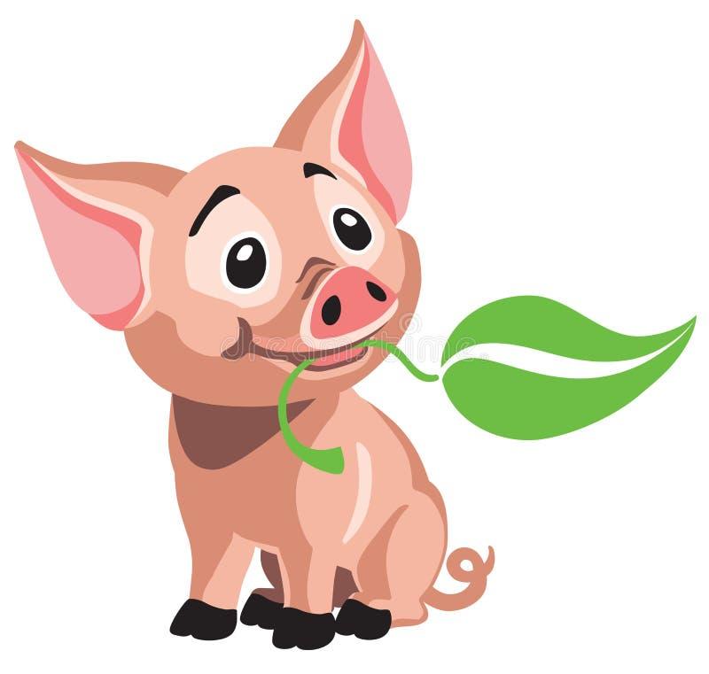 Tecknade filmen behandla som ett barn lite svinet som rymmer ett blad stock illustrationer