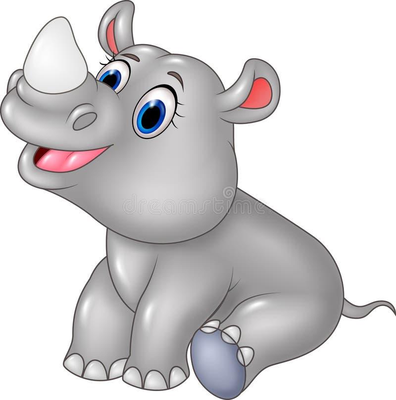 Tecknade filmen behandla som ett barn noshörningsammanträde som isoleras på vit bakgrund stock illustrationer