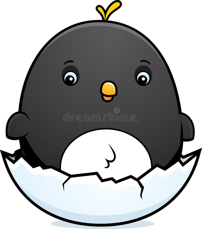 Tecknade filmen behandla som ett barn pingvinägget royaltyfri illustrationer