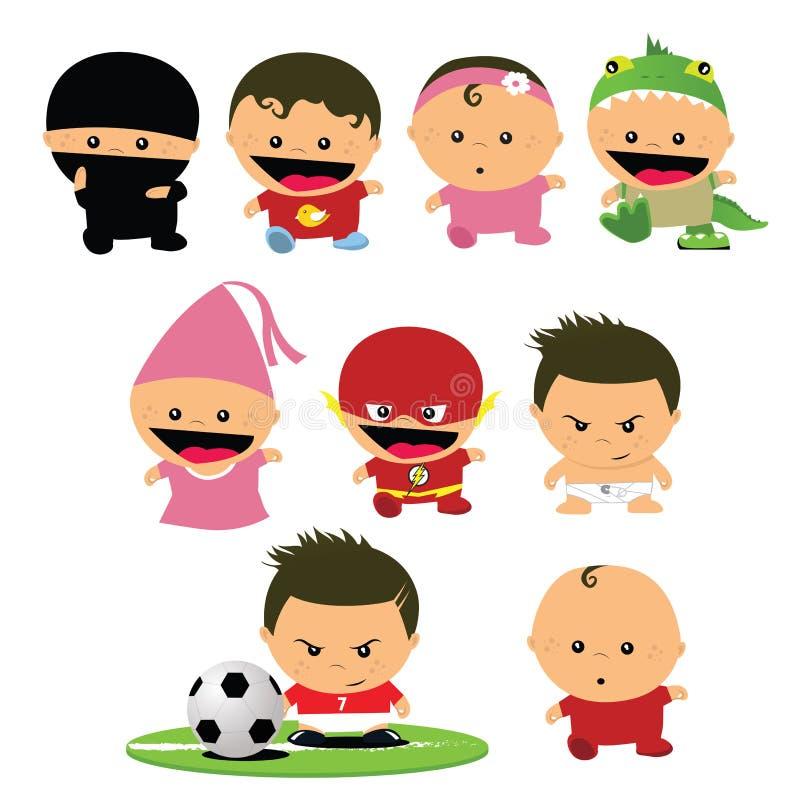 Tecknade filmen behandla som ett barn/ungar/behandla som ett barn maskerat att spela för barnkammaregyckel vektor illustrationer