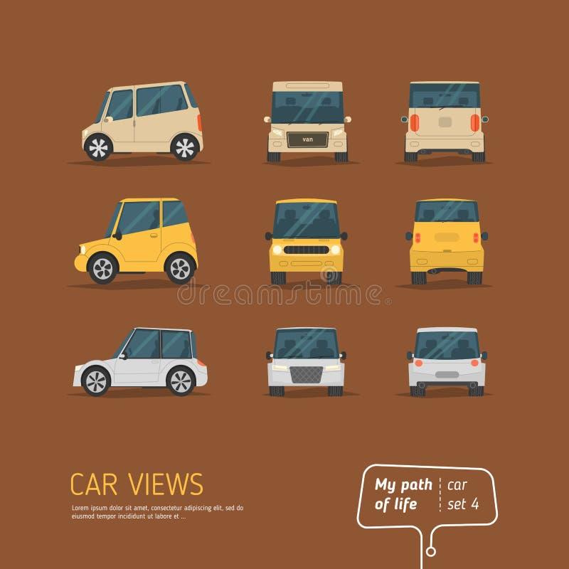 Tecknade filmen beskådar biluppsättningen vektor illustrationer