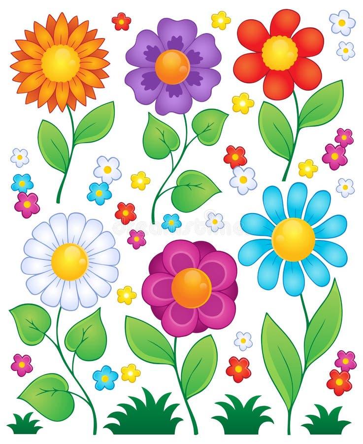Tecknade filmen blommar samling 3 stock illustrationer