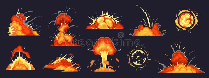 Tecknade filmen bombarderar explosion Spränga med dynamit explosioner, bombarderar farasprängmedlet explosion, och atombomber för vektor illustrationer