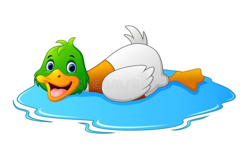 Tecknade filmen duckar flöten på vatten vektor illustrationer