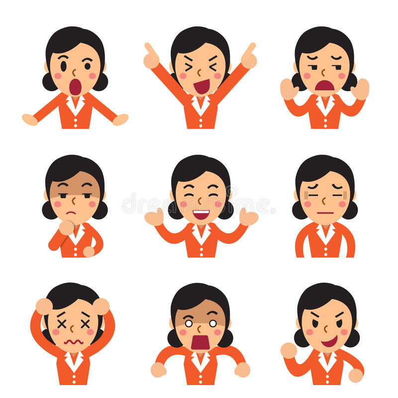 Tecknade filmen en affärskvinna vänder mot uppvisning av den olika sinnesrörelseuppsättningen vektor illustrationer