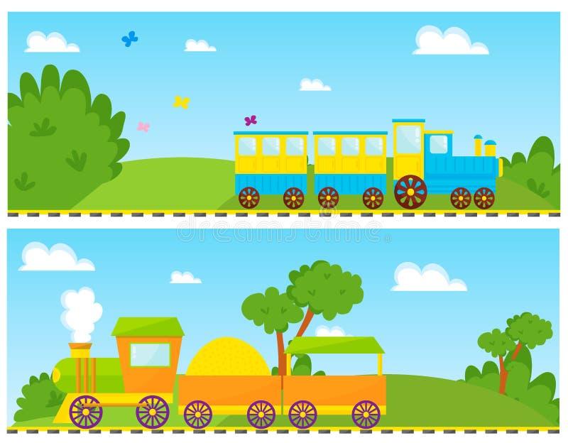 Tecknade filmen för ungedrevvektorn leker med barn för gåva för glädje för fritid för färgrik rörlig lek för kvarterjärnvägvagn r royaltyfri illustrationer