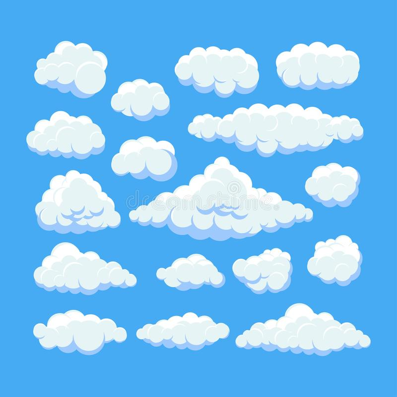 Tecknade filmen fördunklar på för panoramavektor för blå himmel samling Cloudscape i blå himmel, vit molnillustration stock illustrationer