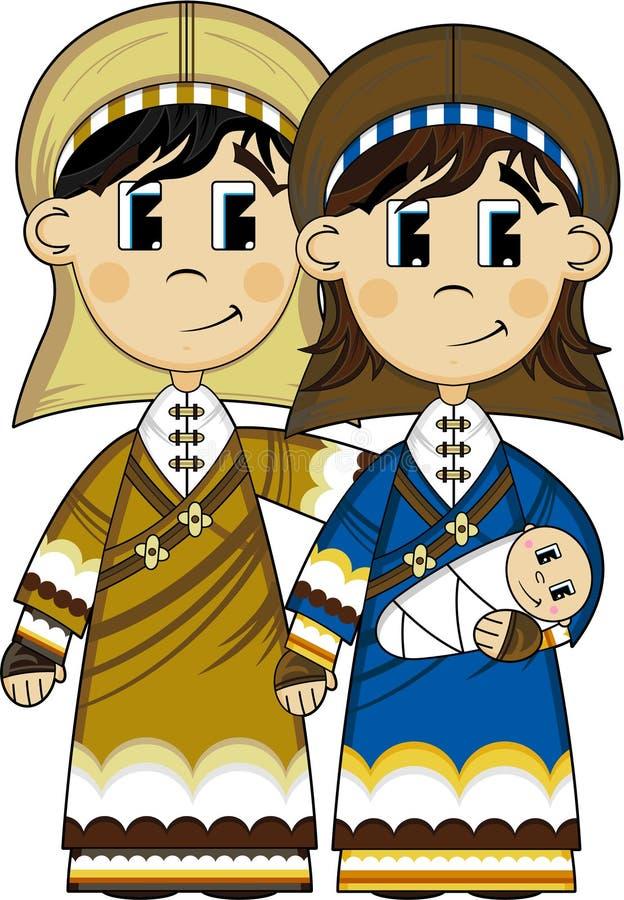 Tecknade filmen jungfruliga Mary, Joseph och behandla som ett barn Jesus royaltyfri illustrationer