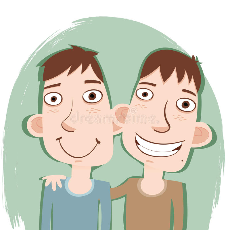 Tecknade filmen kopplar samman bröder vektor illustrationer