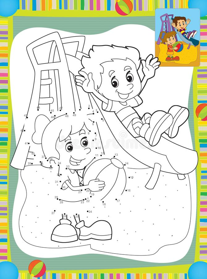 Tecknade Filmen Lurar Att Spela På Glidbanan - Illustrationen För Barnen Arkivfoto