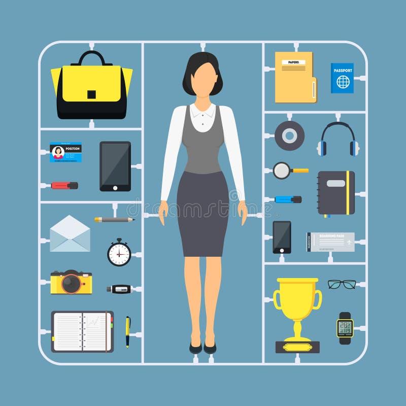 Tecknade filmen monterar affärskvinnan Color Icon Set vektor stock illustrationer