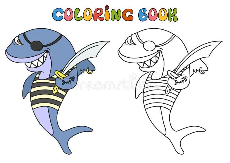 Tecknade filmen piratkopierar hajen royaltyfri illustrationer