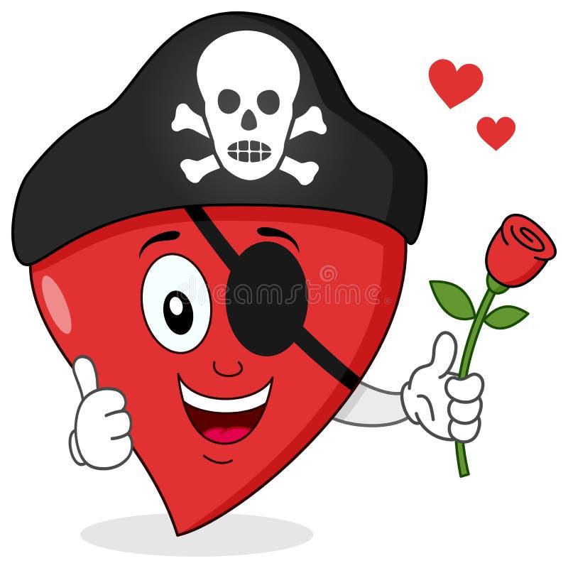 Tecknade filmen piratkopierar hjärta med den röda rosen royaltyfri illustrationer