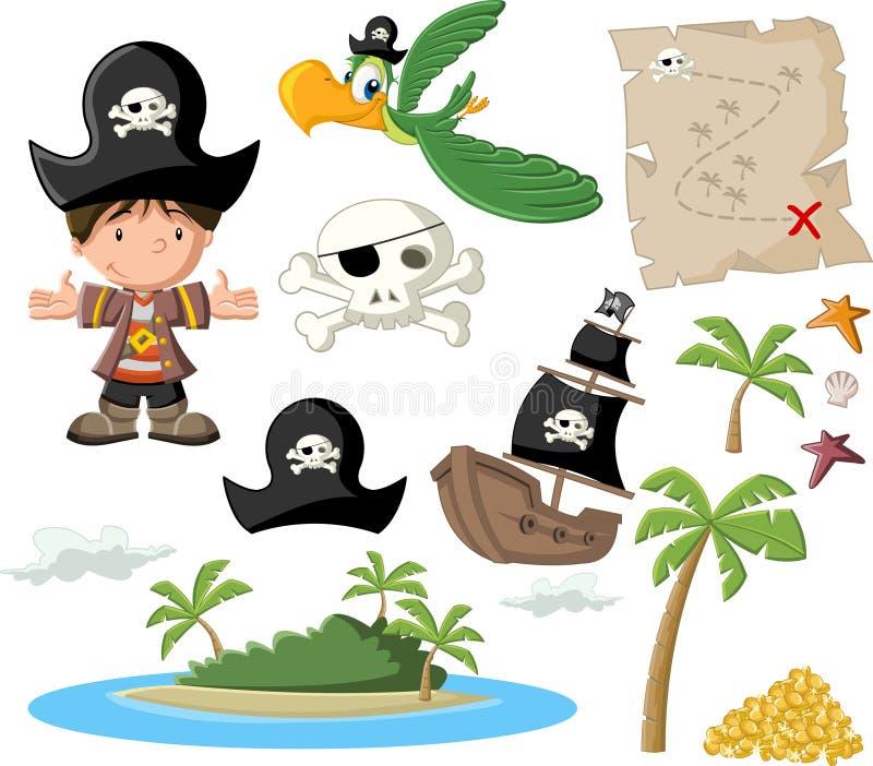 Tecknade filmen piratkopierar pojken royaltyfri illustrationer