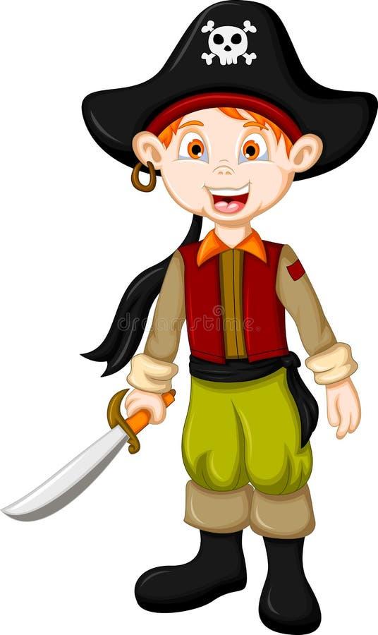 Tecknade filmen piratkopierar ungen med svärdet vektor illustrationer