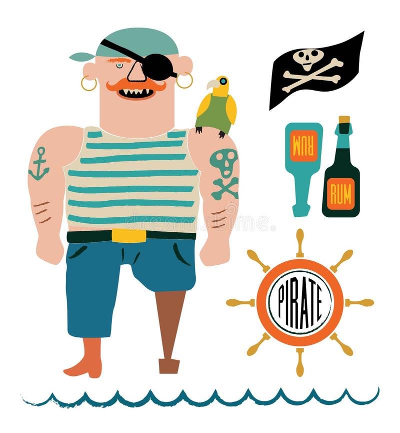 Tecknade filmen piratkopierar vektoruppsättningen Piratkopiera med en papegoja på skuldra, sjunka med skallen och ben, flaskor av royaltyfri illustrationer