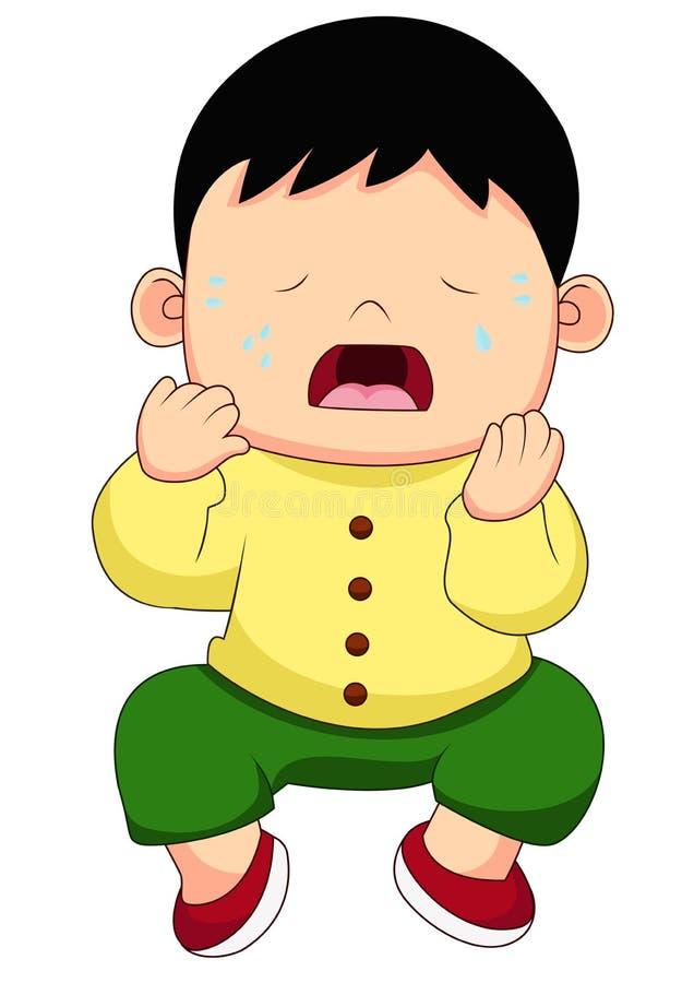 Tecknade filmen som sitter och gråter som är liten, behandla som ett barn pojken royaltyfri illustrationer
