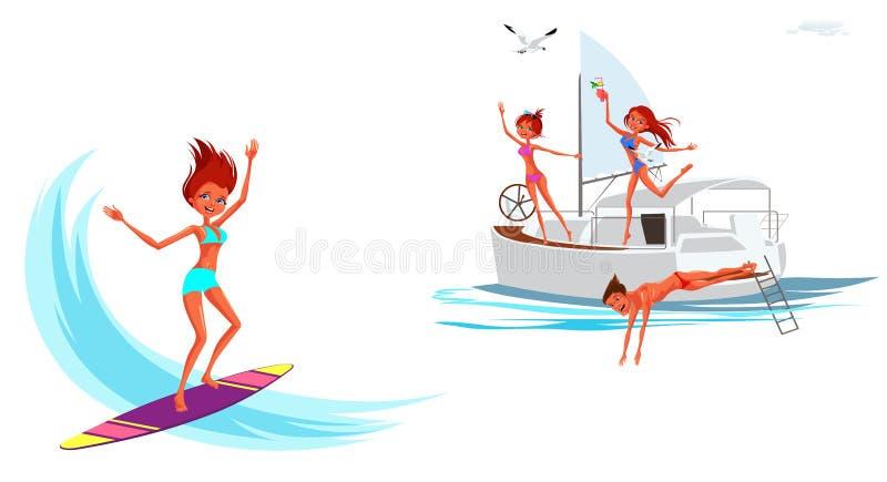 Tecknade filmen ställde in av flickan som surfar och ler stock illustrationer