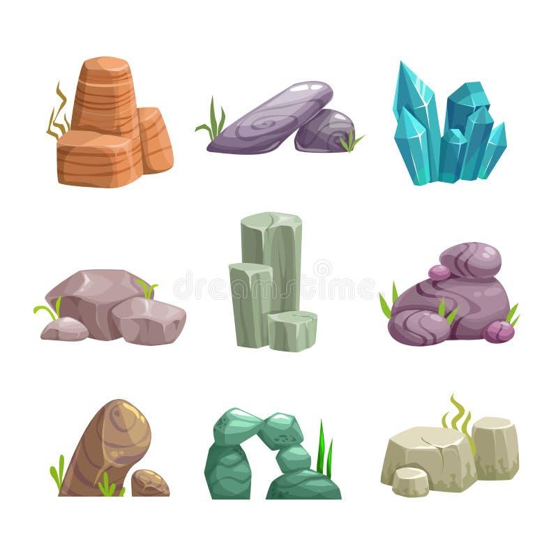 Tecknade filmen stenar och vaggar tillgånguppsättningen stock illustrationer