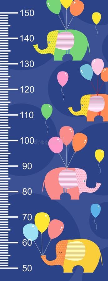 Tecknade filmen stiliserade elefanter med ballonger på en blå bakgrund Stadiometeren royaltyfri illustrationer