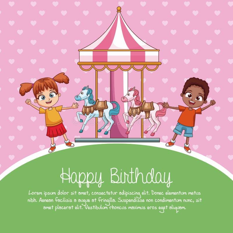 Tecknade filmer för kort för lycklig födelsedag royaltyfri illustrationer