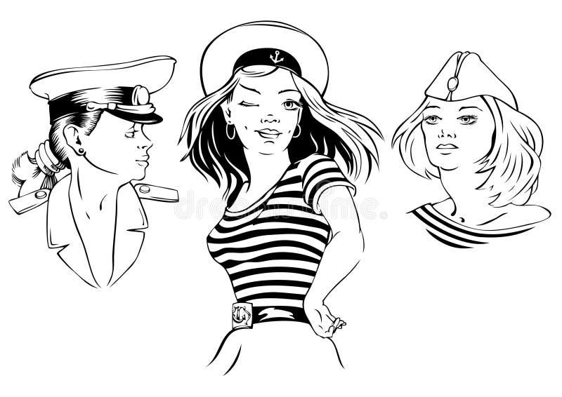 tecknade flickor vektor illustrationer