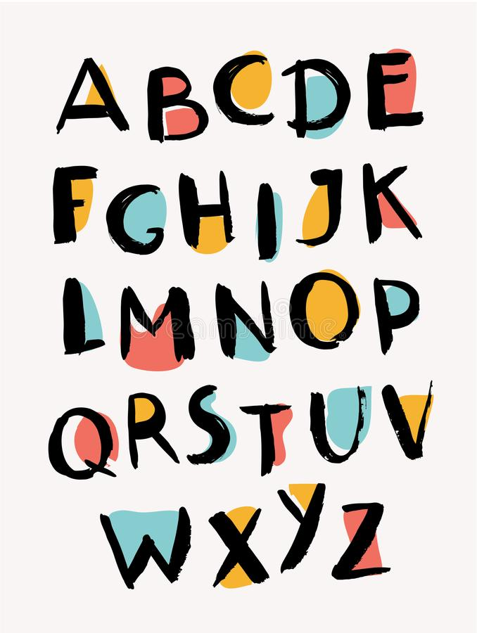 tecknade handbokstäver stilfullt alfabet moderiktig abc royaltyfri illustrationer