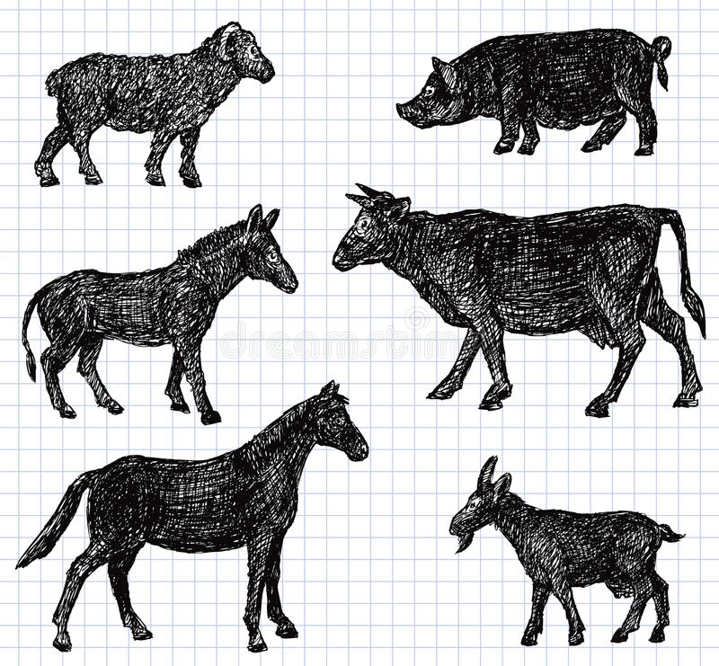 tecknade handhusdjur vektor illustrationer