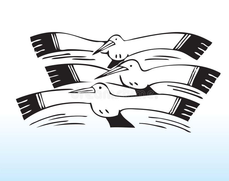 tecknade handseagulls royaltyfri illustrationer