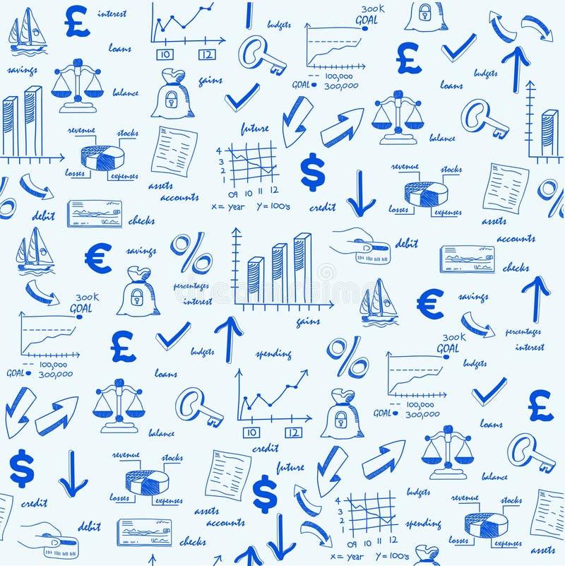 tecknade seamless finanshandsymboler stock illustrationer