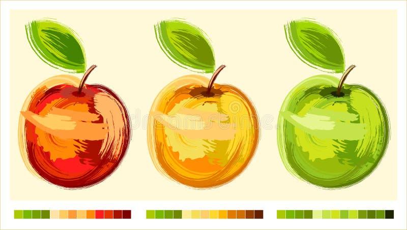 Tecknande äpple tre vektor illustrationer