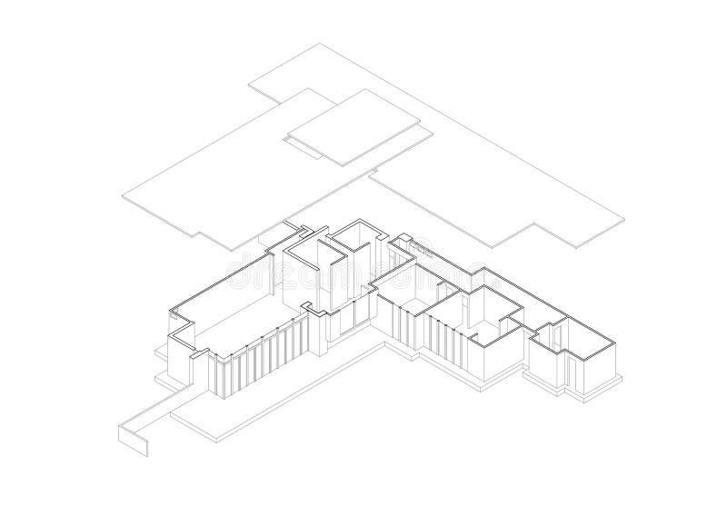 tecknande exploderade isometriska jacobs för hus royaltyfri illustrationer
