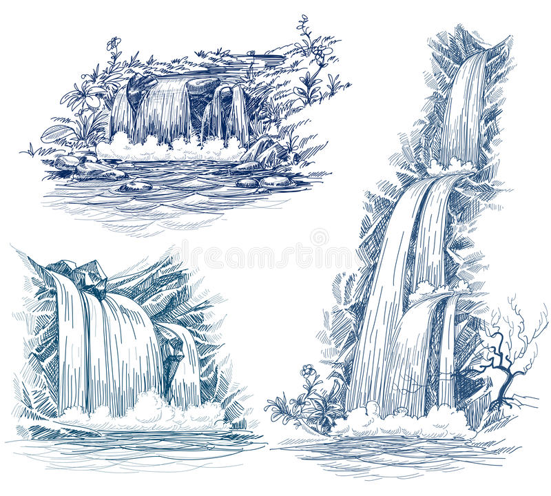tecknande fallsvatten stock illustrationer