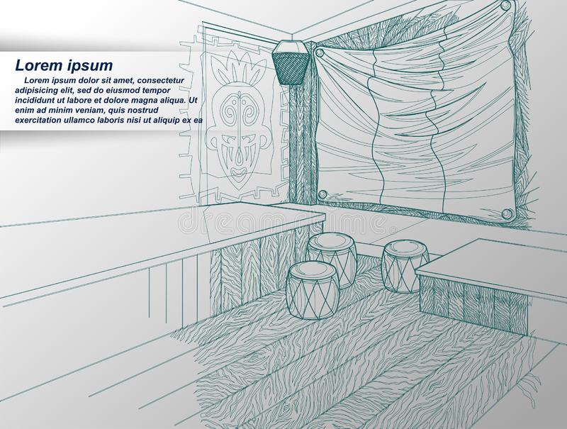 tecknande interior vektor illustrationer