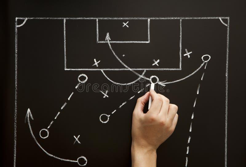 tecknande modig manfotbollstrategi arkivfoton