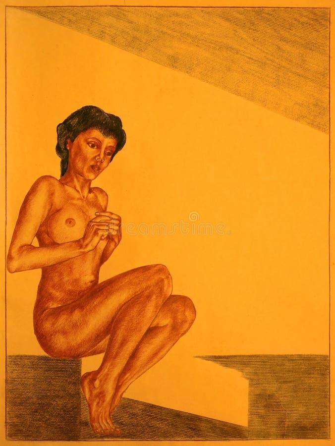 Tecknande naken kvinna