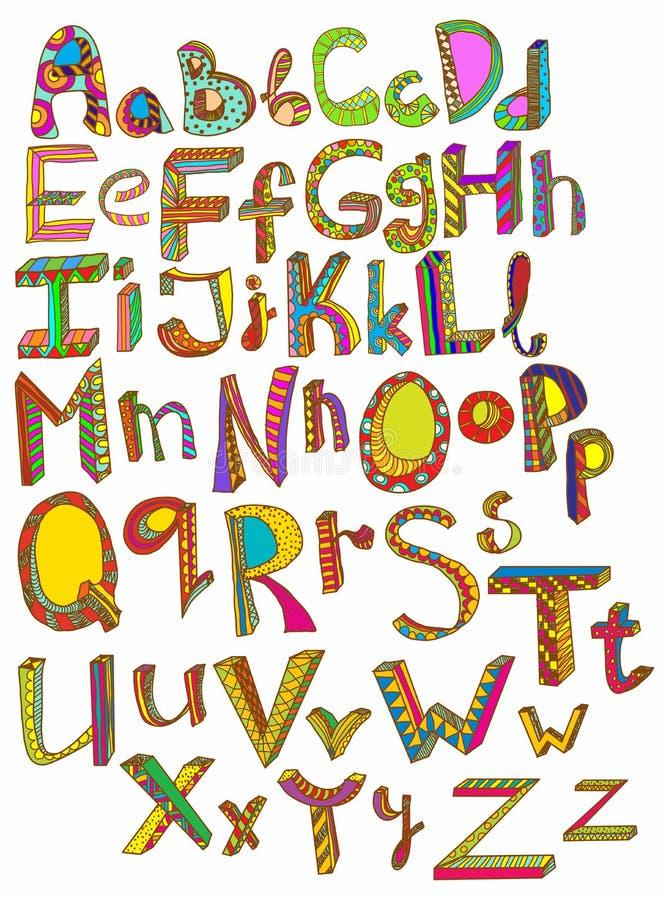 Tecknat alfabet för färg hand royaltyfri illustrationer