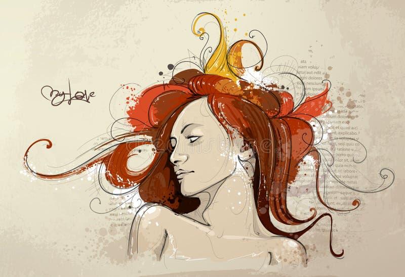 tecknat handladybarn royaltyfri illustrationer
