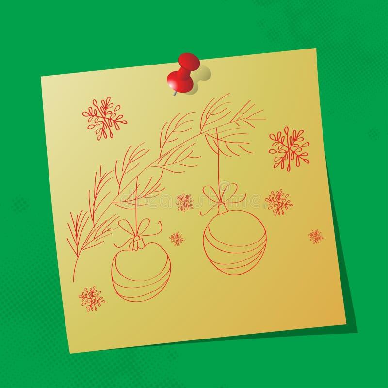 Tecknat meddelande för julprydnadar hand arkivbilder