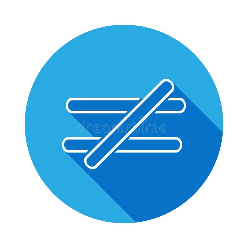 tecknet är inte jämbördigt till symbolen med lång skugga Tunn linje symbol för websitedesignen och utveckling, app-utveckling hög royaltyfri illustrationer