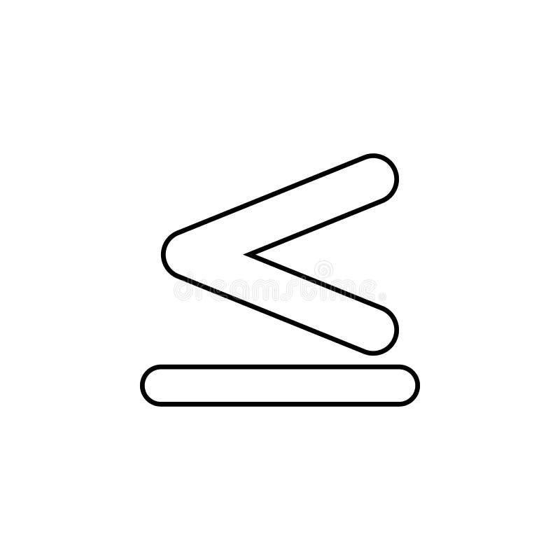 tecknet är mindre än och jämbördig till symbol Tunn linje symbol för websitedesignen och utveckling, app-utveckling högvärdig sym stock illustrationer