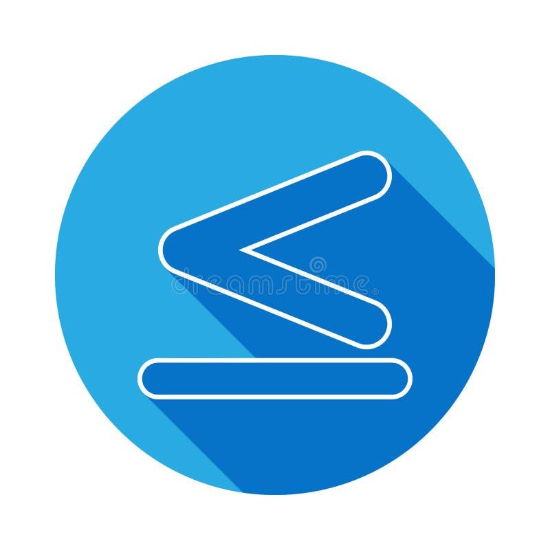 tecknet är mindre än och jämbördigt till symbol med lång skugga Tunn linje symbol för websitedesignen och utveckling, app-utveckl royaltyfri illustrationer