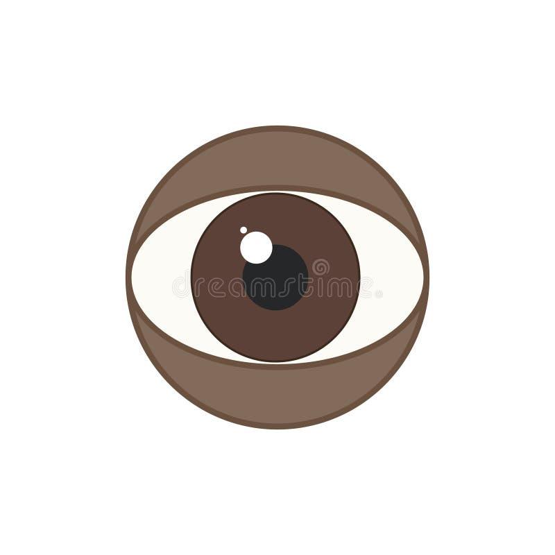 Tecknet av det mänskliga ögat är afrikanska amerikanen, bruntögon Vektor fl stock illustrationer