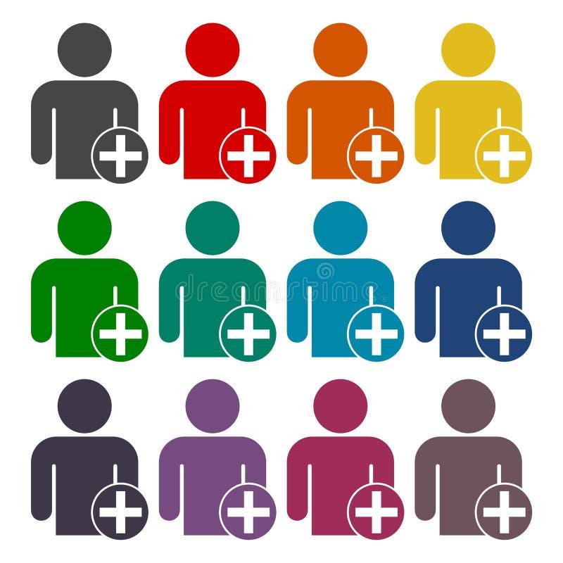 Tecknet för användareprofilen med plus skårarengöringsduksymboler ställde in stock illustrationer
