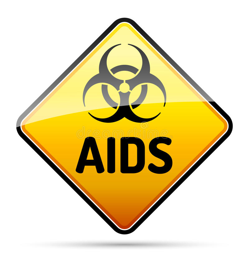 Tecknet för fara för viruset för HJÄLPMEDELHIV-biohazarden med reflekterar och skuggar på royaltyfri illustrationer