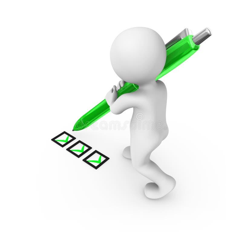 Tecknet för man 3d med en grön penna royaltyfri illustrationer
