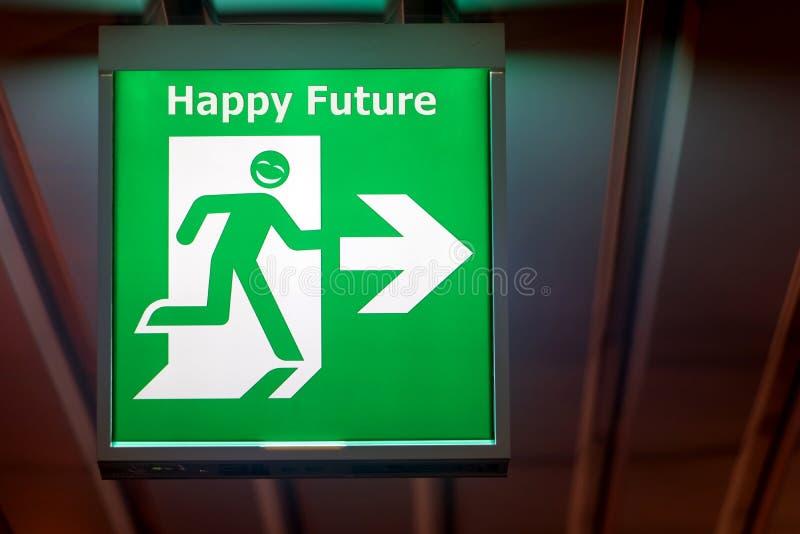Tecknet för nöd- utgång med lycklig framtid för önska royaltyfria bilder