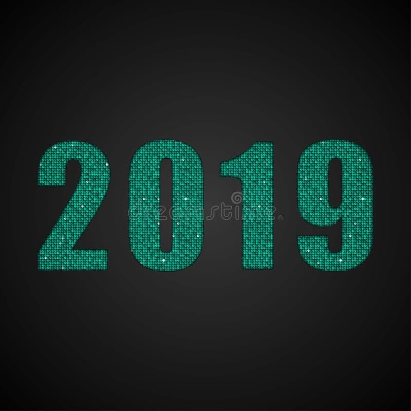 Tecknet för nytt år för paljetter för nummer 2019 det gröna stock illustrationer